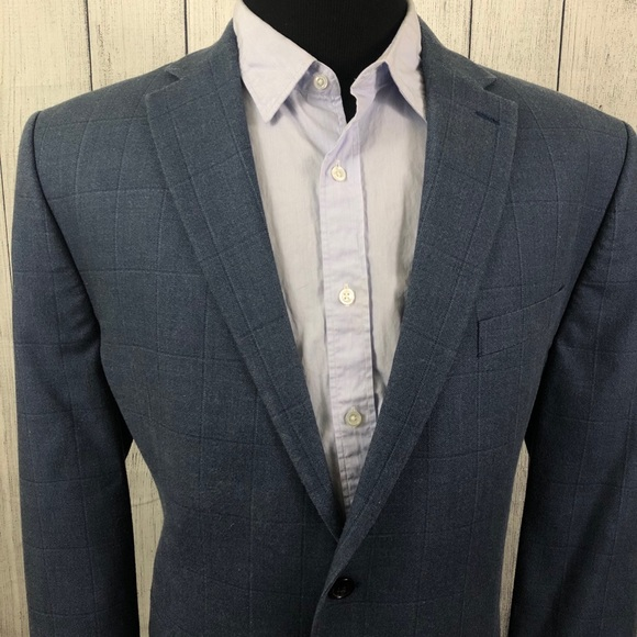 Lauren Ralph Lauren 46R Blue Windowpane Sport Coat